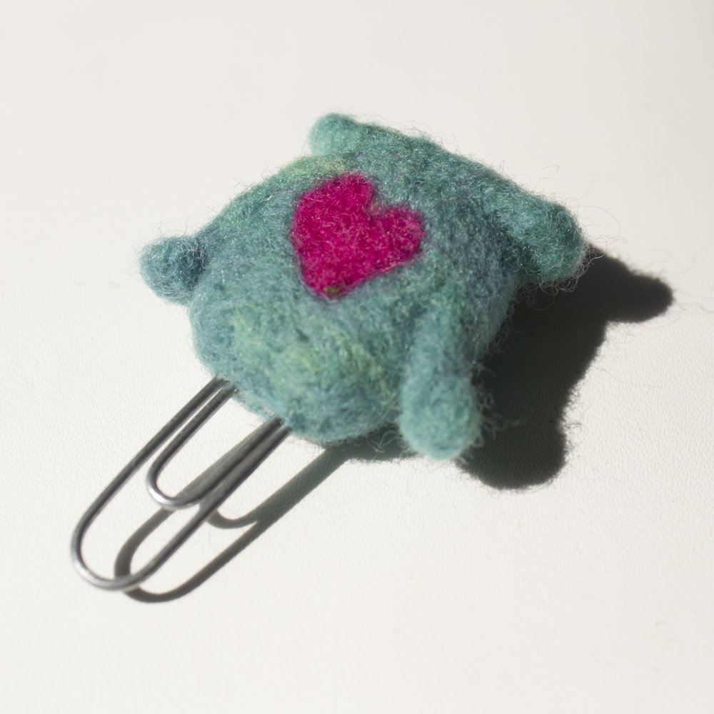 back of needle felted owl paperclip