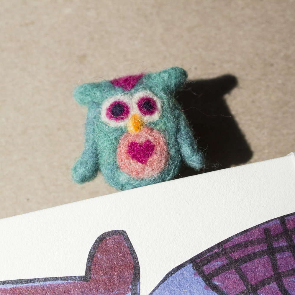 needle felted owl planner paperclip