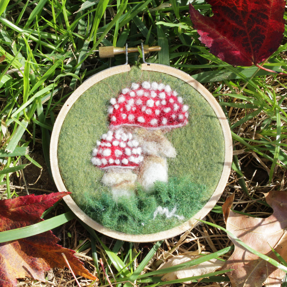 """Muchomory"" - needle felted art on 3"" embroidery hoop, Magi Kern 2016"