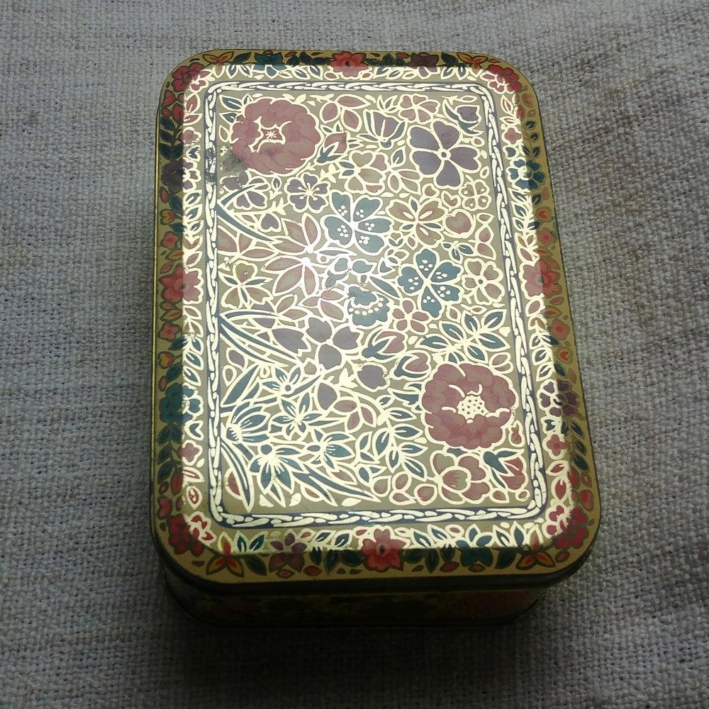 vintage gilded tin