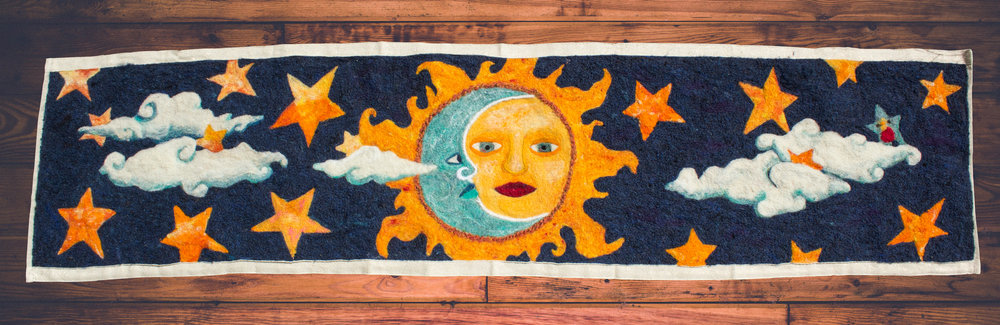 Sun & Moon piece completed - the little blue star is my daughter's handiwork, which she made when she was 4.