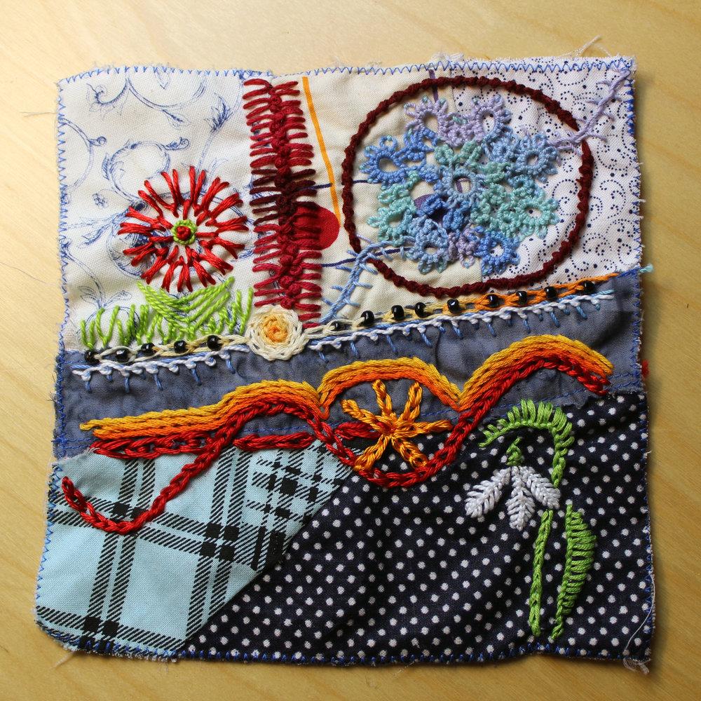 stem stitch Portuguese stem stitch January 2019 crazy quilt star magnolias