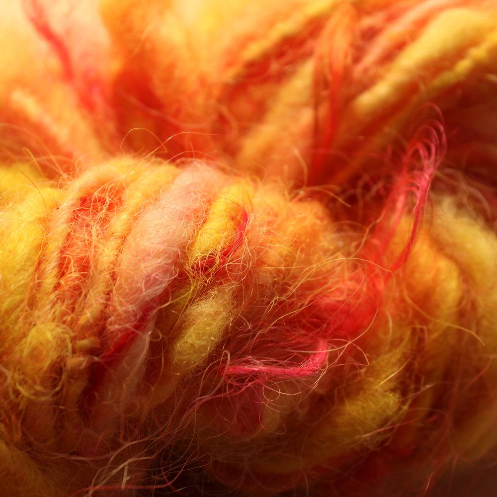 Firey singles lockspun yarn from icelandic wool