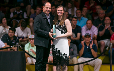 "Sally Roberts named USA Wrestling Woman of the Year - BY GARY ABBOTT, USA WRESTLING | JUNE 26, 2018, 2:22 P.M. (ET)Sally Roberts receives her Woman of the Year award from USA Wrestling Executive Director Rich Bender during Final X at Lehigh. Photo by Justin Hoch.Sally Roberts of Colorado Springs, Colo. has been named Woman of the Year by USA Wrestling, the national governing body for wrestling in the United States. This award recognizes an outstanding woman for her contributions to the sport of wrestling.Roberts is the founder and Executive Director of Wrestle Like A Girl, Inc., a non-profit organization focused entirely on creating opportunity for girls and women in the sport of wrestling. In just its first few years, Wrestle Like A Girl has made a tremendous impact on wrestling, not only in the United States but also globally.""I am extremely honored. First and foremost, it is always a bit humbling when an organization like USA Wrestling decides to recognize the work of Wrestle Like A Girl. But it is also exciting due to the fact that we are collaborating so much on creating opportunities for girls to wrestle now, and will also continue to collaborate to build the sport well into the future. I am thrilled about this,"" said Roberts.Included in the activities of Wrestle Like A Girl (WLAG) is a strong advocacy focus, working with organizations in all walks of life to integrate women's wrestling into their activities and opportunities. She has provided ""out of the box"" leadership in this effort, reaching out and partnering with organizations outside the traditional wrestling and sports community.Roberts and her team have been instrumental in the effort to achieve NCAA Emerging Sports Status for women's wrestling, as well as expand college wrestling on all levels including NAIA, NJCAA and club activities. Working with USA Wrestling, the National Wrestling Hall of Fame, the National Wrestling Coaches Association and the U.S. Olympic Committee, Roberts helped create the proposal to the NCAA for Emerging Sports Status, submitted on August 1, 2017. A revised version will be provided on August 1 this year, when the NCAA is expected to The organization has also played an active role in high school state sanctioning for girls wrestling, as well as the development of youth programs for girls. Just this year, the number of states which will host official state high school programs in girls wrestling has grown from six to 12. WLAG also hosts empowerment camps and clinics for girls, which go well beyond just wrestling technique. ""What has kept me in this line of work is that this effort supersedes the sport of wrestling. I saw it at a team workout just today. These girls have the work ethic, the desire, the dedication and skills that are beyond others. These are the kind of women I would want to hire. For USA Wrestling to support me and the organization as we work together is amazing. We won't know the impact of our efforts for 10 years or more from now, when these women become leaders and CEOs and change society. Wrestling is the platform for these girls to take off from,"" said Roberts.Roberts was a two-time Senior World bronze medalist in women's freestyle wrestling, as well as a successful high school and college athlete. Roberts was third in the 2003 and 2005 Senior World Championships for Team USA. She was a three-time national champion, a 2003 World Cup champion and was the first U.S. woman to win the prestigious Ivan Yarygin Grand Prix in Russia two times. She placed second in the 2008 U.S. Olympic Team Trials.She competed on the women's wrestling teams at the University of Minnesota-Morris and at Pacific University, before becoming a U.S. Olympic Training Center resident athlete. Roberts has been a sports psychology consultant. She has been a board member of USA Wrestling, the United States Olympic Committee Youth Development Working Group and the Association for Applied Sports Psychology.Sally received the 2016 Women in Sport Award on behalf of United World Wrestling and the International Olympic Committee. She is an athlete ambassador for TrueSport, the grassroots organization for the United States Anti-Doping Agency. Sally and Wrestle Like A Girl were recently featured on Megyn Kelly's Today show. The youngest of three children growing up in Washington, she was the first in her family to graduate high school, graduate college and earn an advanced degree. She served six years in the Army as a Special Operations soldier where she volunteered for deployment to Afghanistan.She earned a Bachelor of Arts degree in Psychology from University of Colorado - Colorado Springs and a Master of Arts degree in Sport and Performance Psychology from University of the Rockies. She has a certification in nutrition from the Institute of Integrative Nutrition. The first USA Wrestling Woman of the Year was Tricia Saunders for 1997. The most recent Woman of the Year was Helen Maroulis in 2016.PAST USA WRESTLING WOMAN OF THE YEAR WINNERS2017 – Sally Roberts2016 – Helen Maroulis2015 – Kyra Tirana Barry2014 – Toska Adams2013 – Marcie Van Dusen2012 – Christina ""Kiki"" Kelley2011 – Dr. Kristen Kells2010 – Patricia Fox2009 – Ginger Lile2008 - Sue Hesser2007 - Dr. Lin Miller2006 - Sharon Dowden 2005 - Kim Martori-Wickey2004 - Patricia Miranda2003 - Kristie Marano2002 - Pat Short2001 - Paula McGahee2000 - Sandy Stevens1999 - Sue Siar1998 - Nancy Schultz1997 - Tricia Saunders###"