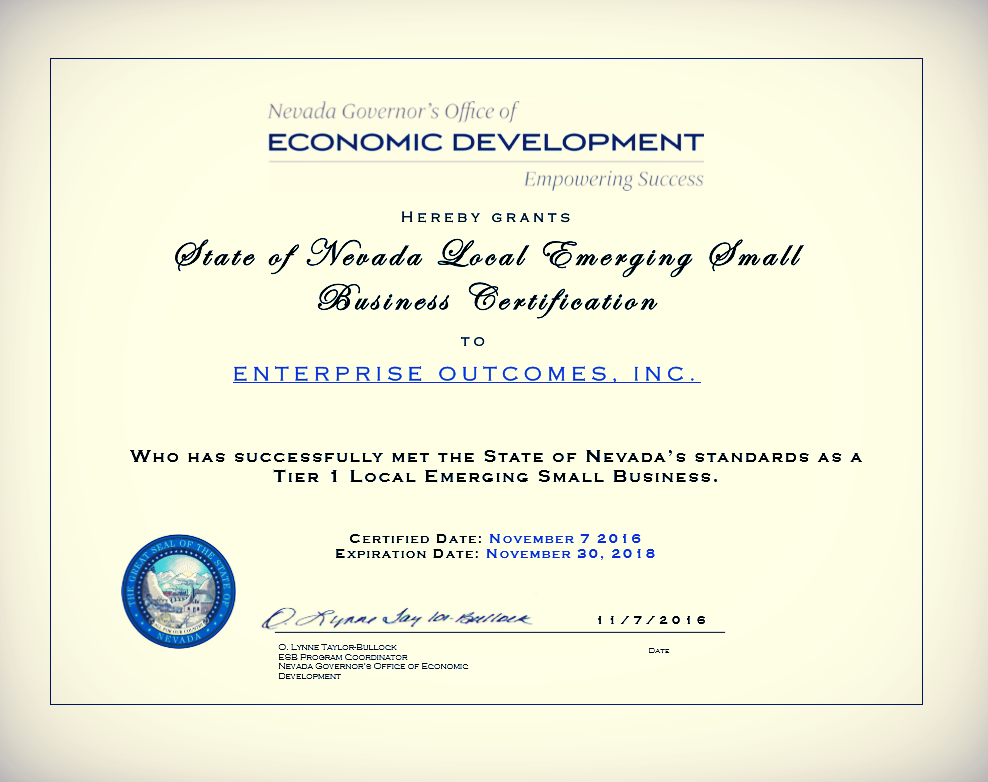 Enterprise Outcomes is Certified as a Nevada Emerging Small Business ...