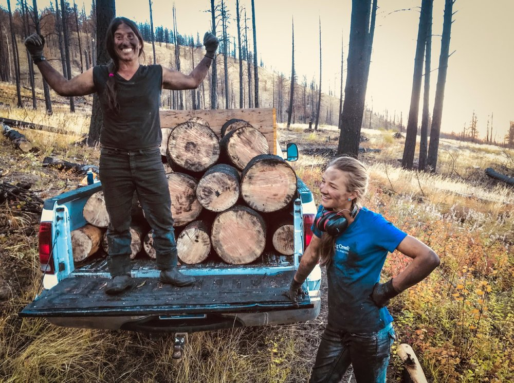 Mary and Hannah, on one of the many trips to gather farm firewood in Roaring Lion.