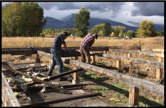 Noah and Greg do demolition work for the yurt platform.