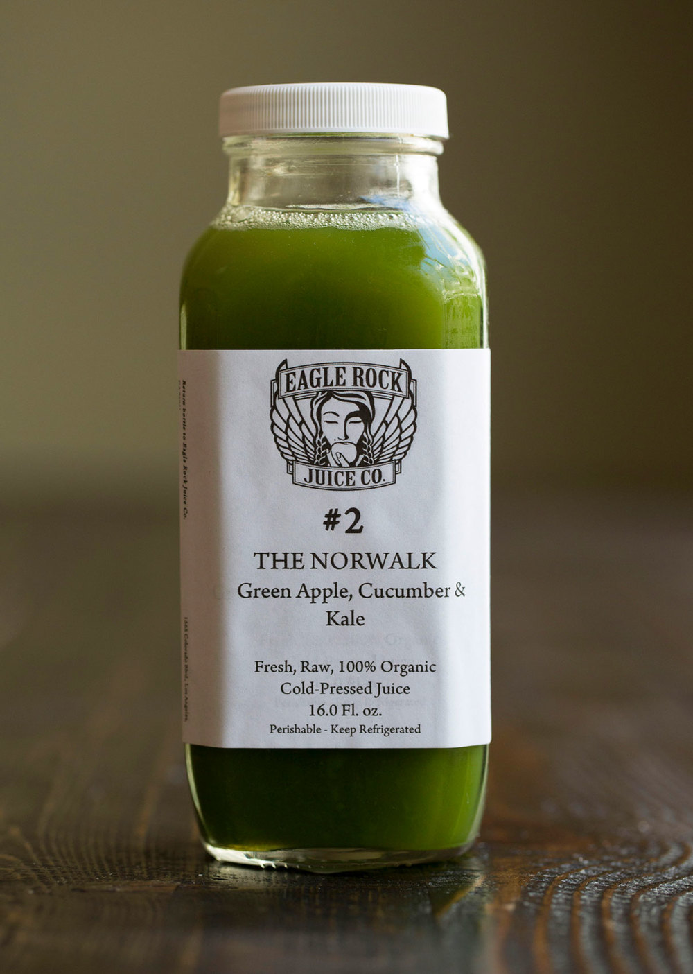 #2 The Norwalk   $22.50/11.25/9.25 Green Apple, Cucumber & Kale