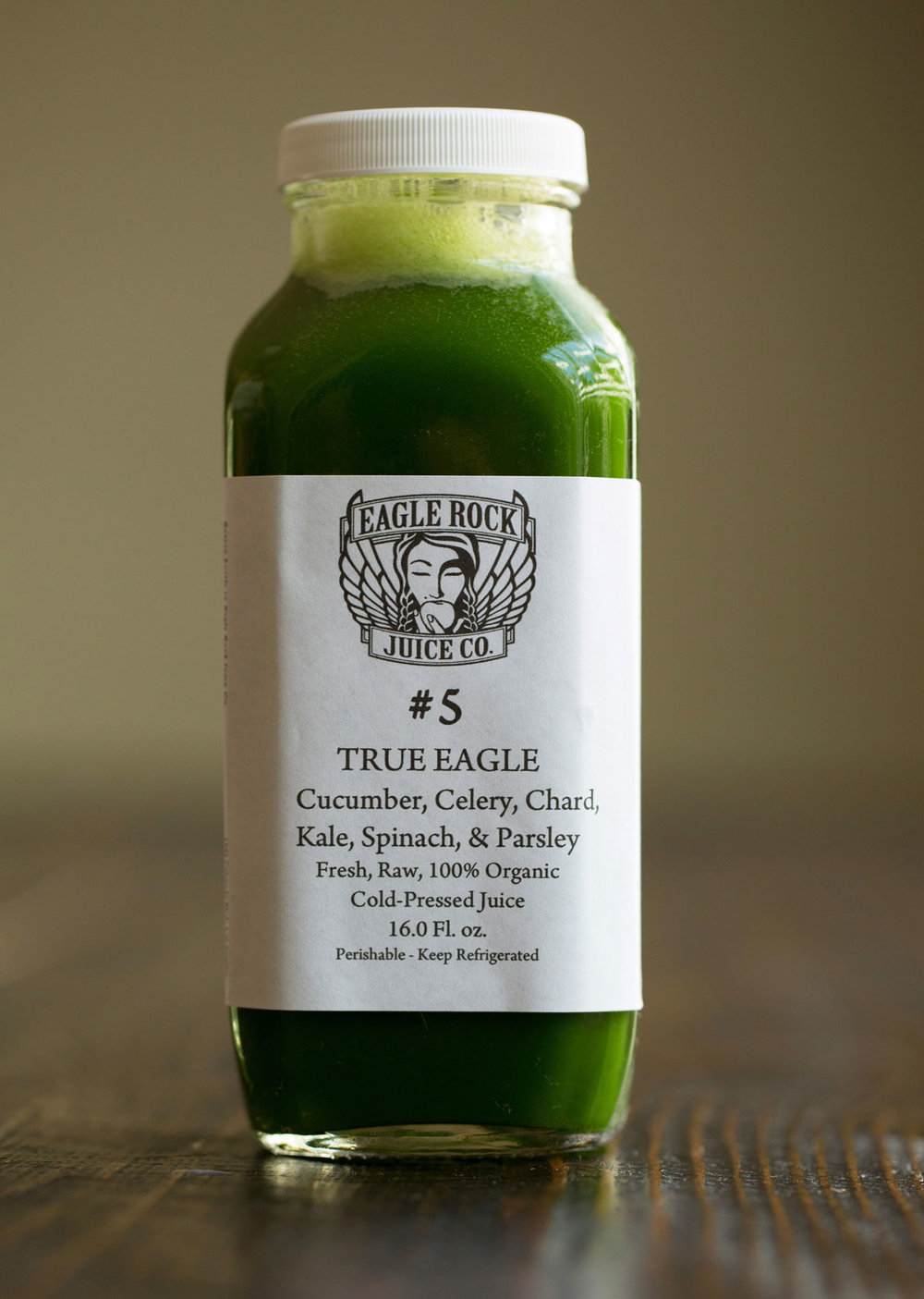 #5 True Eagle         $24.50/12.25/10.25 Cucumber, Celery, Kale, Chard, Spinach & Parsley