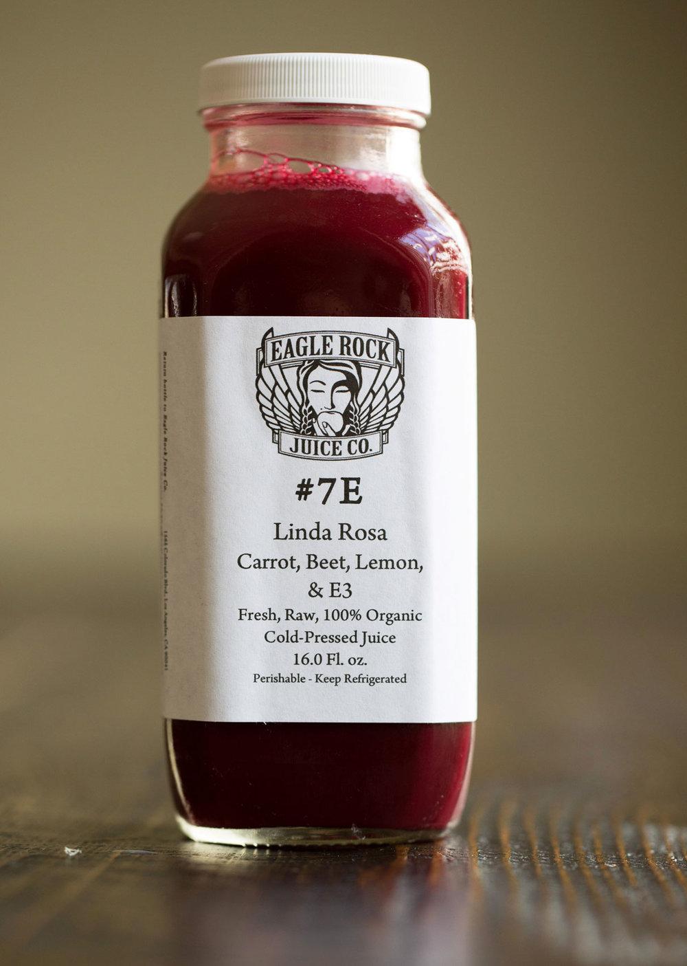 #7E The Linda Rosa   N-A/$12.50/10.50 Carrot, Beet, Lemon & E3 Live