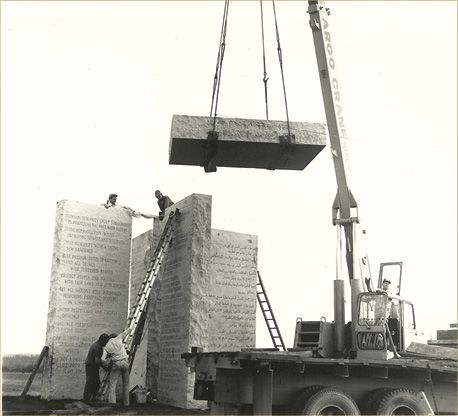 Elberton Granite Finishing Company hired by R. C. Christian constructing the monument
