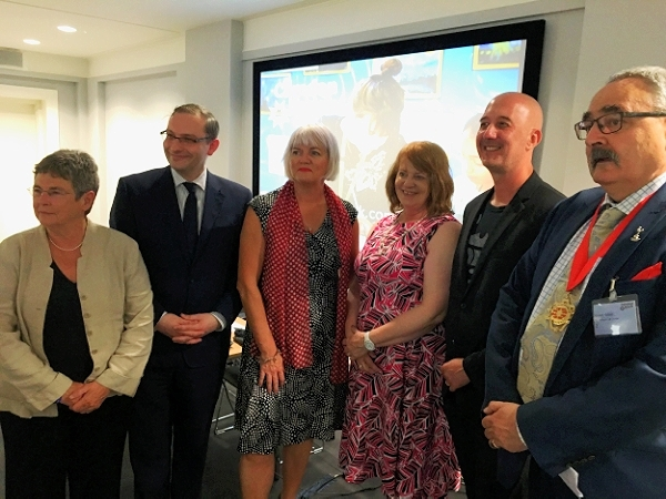 Photo (left to right): Cllr Angela Mason, Richard Harrison, Laura Gander-Howe, Professor Maggie Atkinson, Rob Earrey, Cllr Richard Cotton.