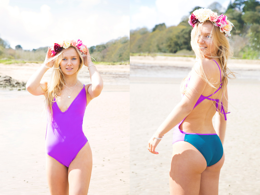 adaraya purple + green deep v swimsuit