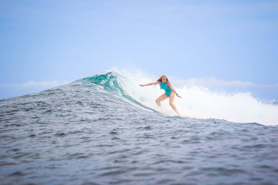 Amy Cavender surfs Philippines Deep (pc Gwilym Thomas)