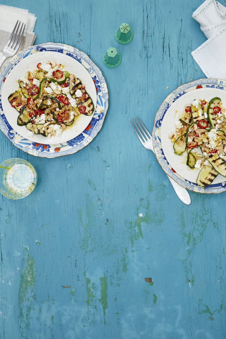 Griddled courgette slices with garlic, lemon, parsley & chilli