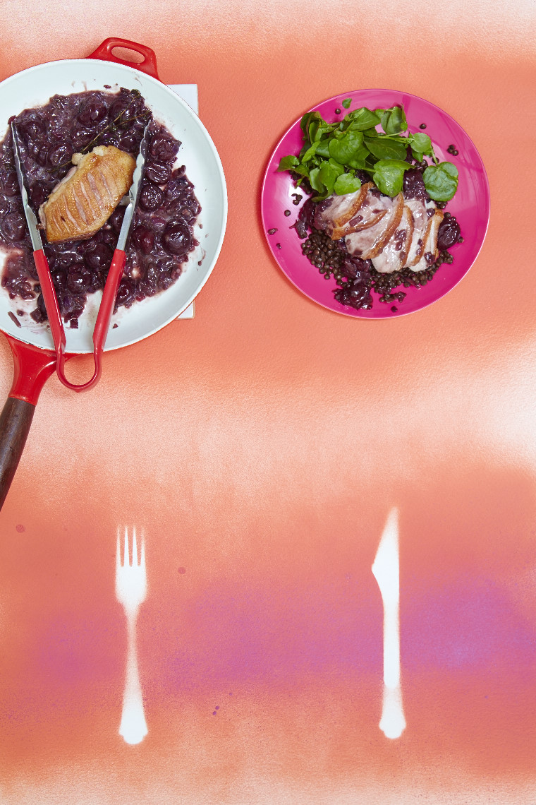 Pan-fried cherry duck with puy lentil salad