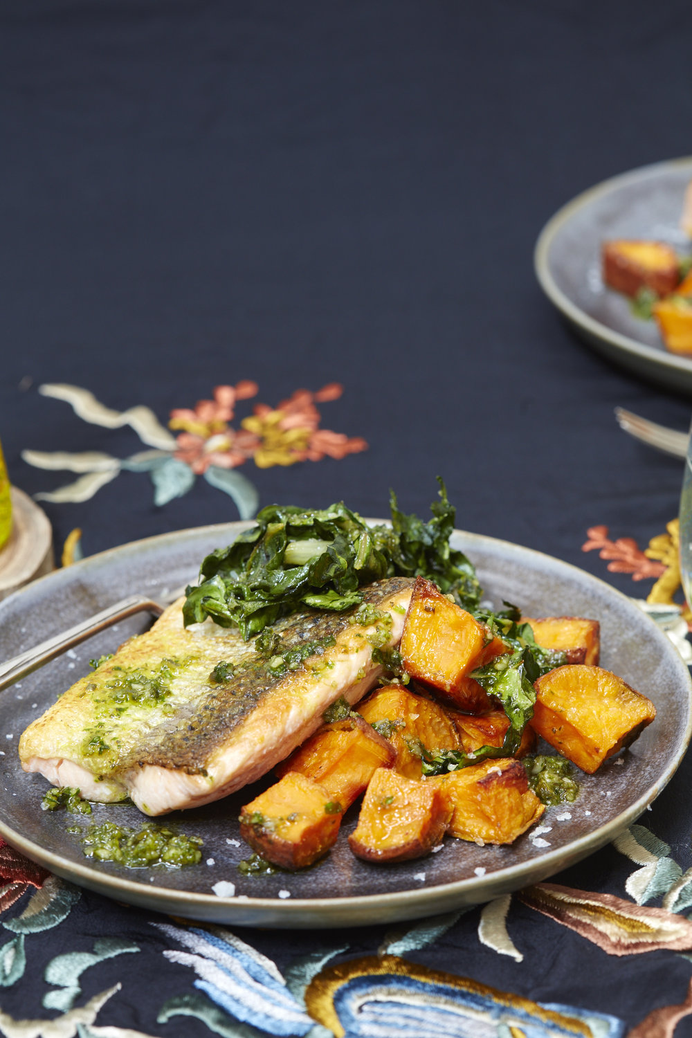 Pumpkin seed pesto salmon