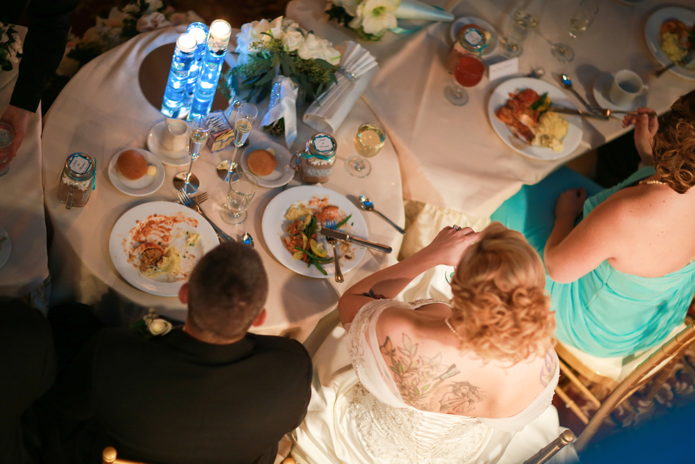 Overhead photo of the head table at a wedding.