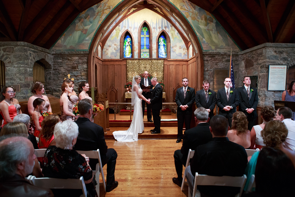 Photo of a wedding at the All Sous Church in Tannersville, NY