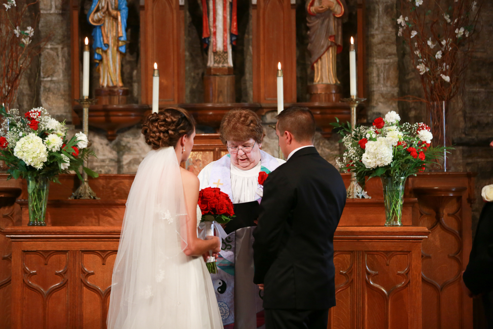 Wedding ceremony in a beautiful old church