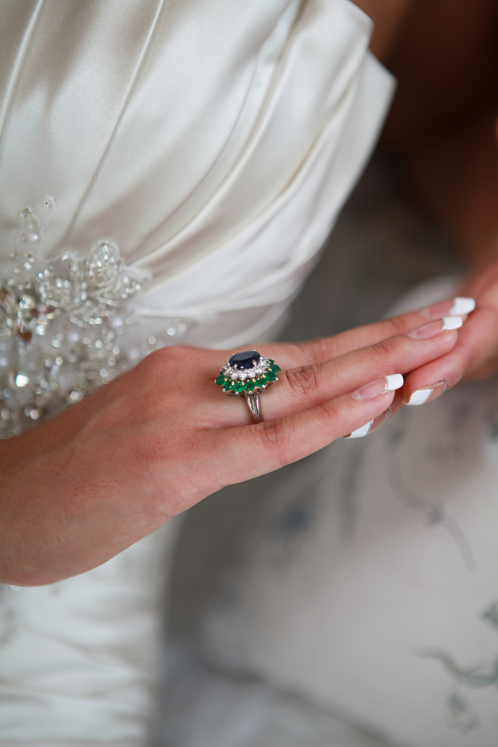 Bride wearing her mothers ring