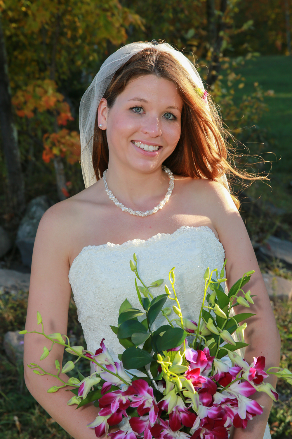 Bride at her Hunter Mountain Wedding