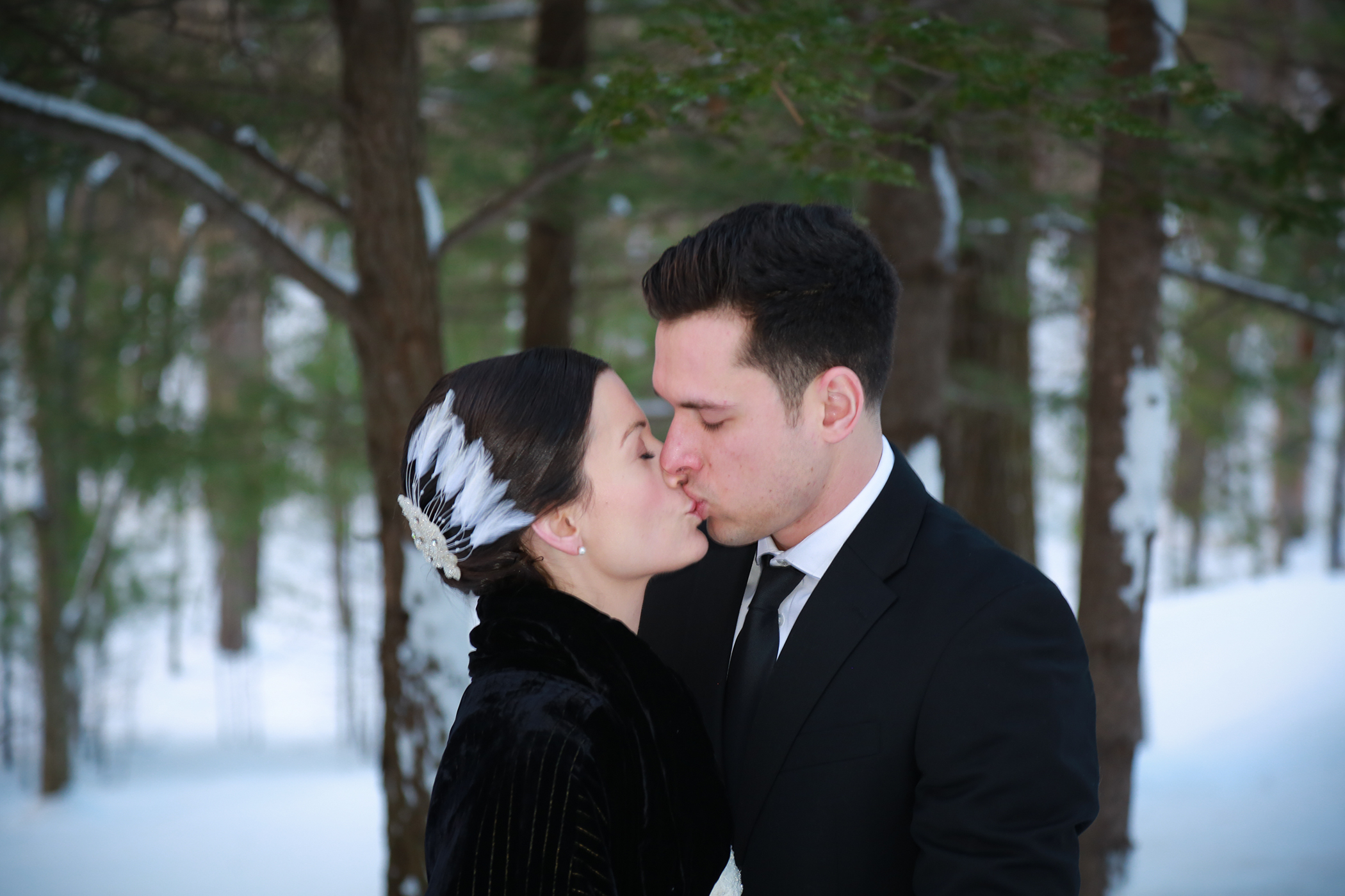 Wedding Photograph of a couple in the snow near Woodstock, NY