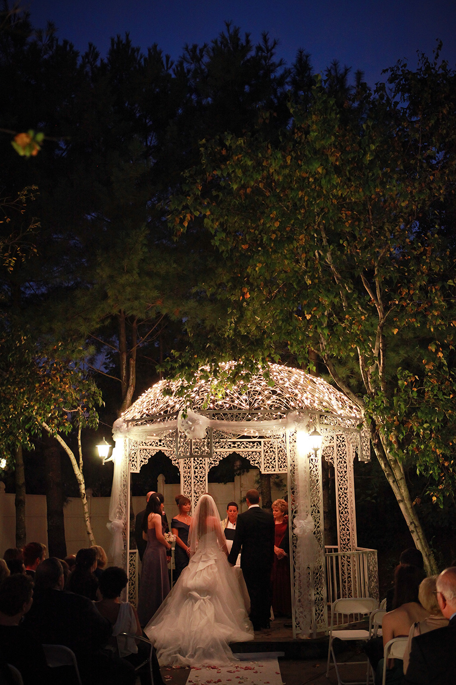 Hudson Valley Wedding Photo at night