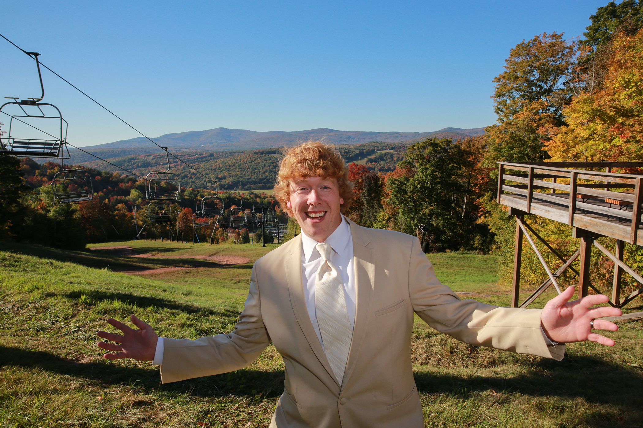 Groom portrait at Windham Moutain NY