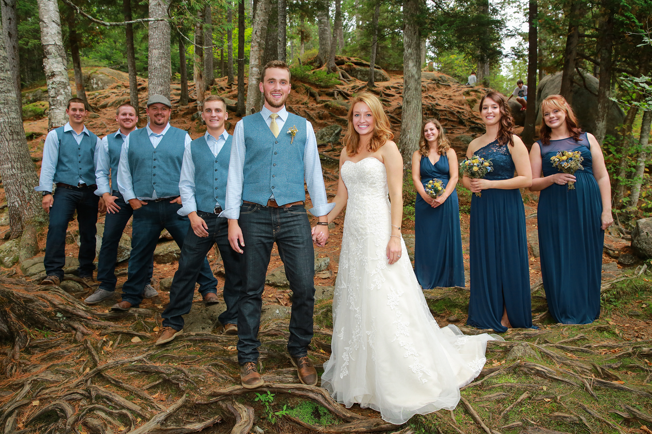 Bridal Party in the woods of ny State