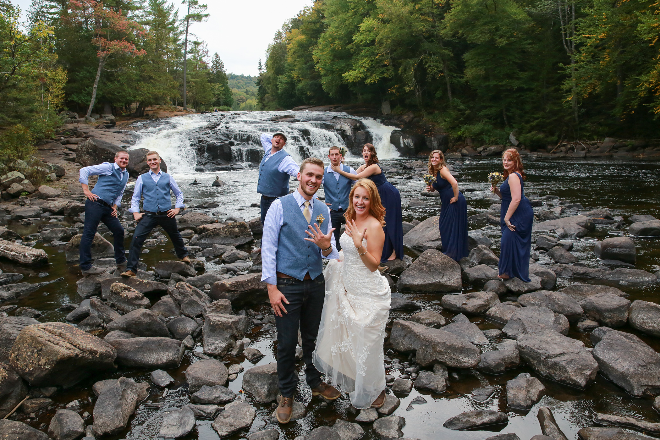 Wedding Party NY the Waterfalls