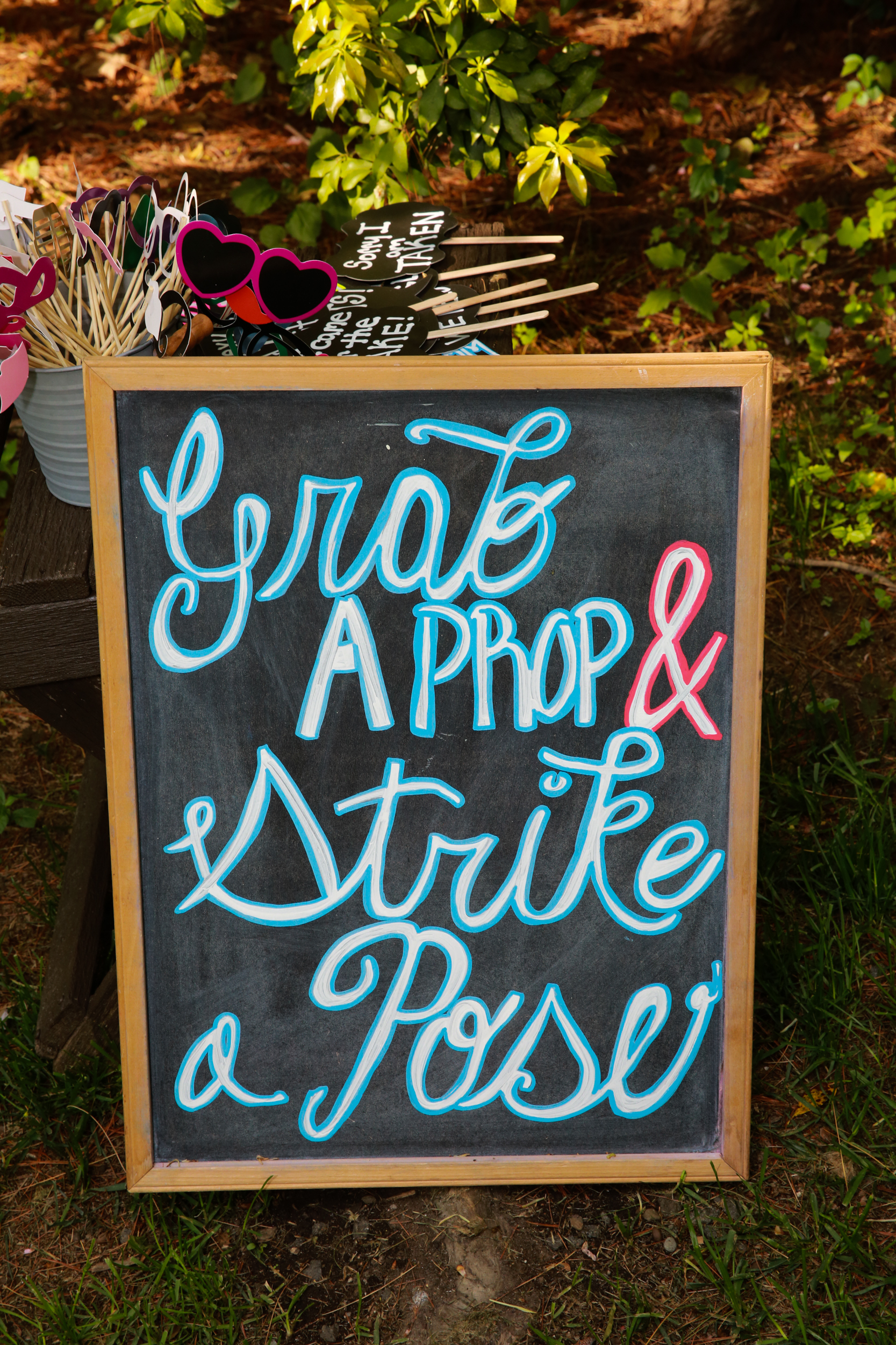 beautiful home made sign at a wedding