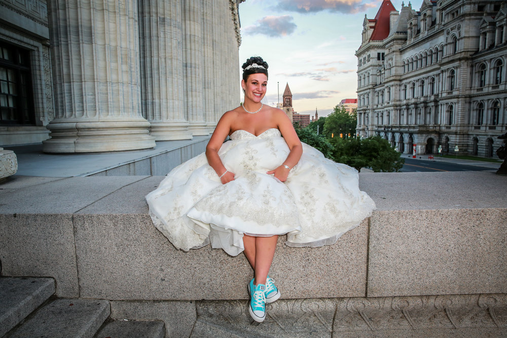 Bride photographed at the Capital in Albany across from the Egg.