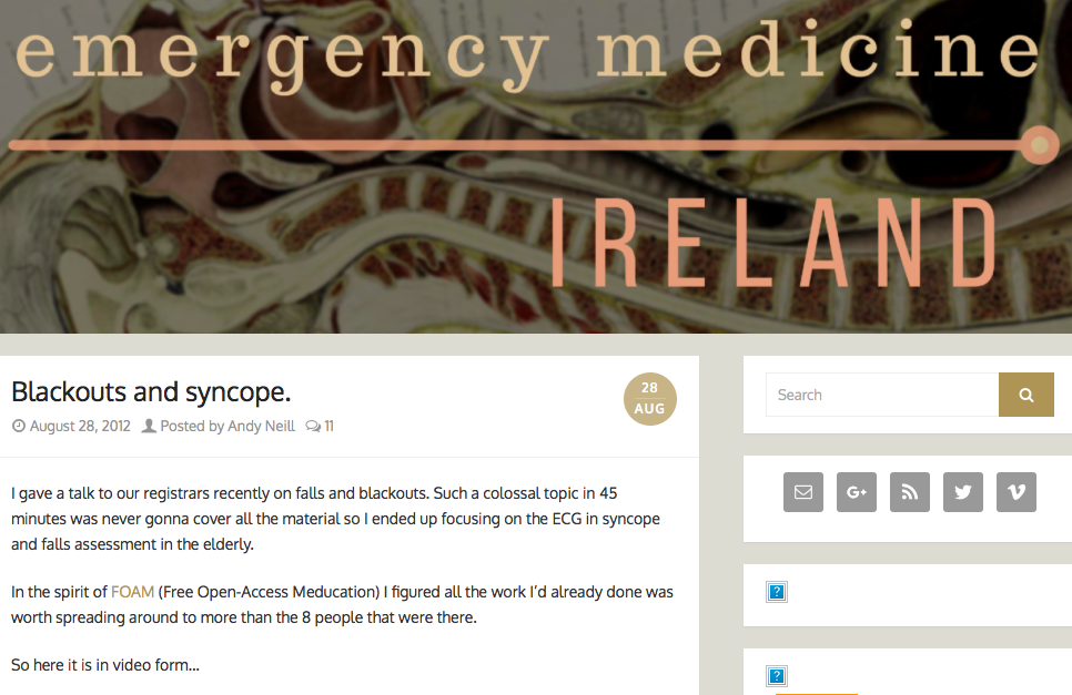 - This video is a summary taken from the excellent Emergency Medicine Ireland website and is a teaching session delivered to a group of registrars. It covers a range causes to look out for, including features in history and examination.