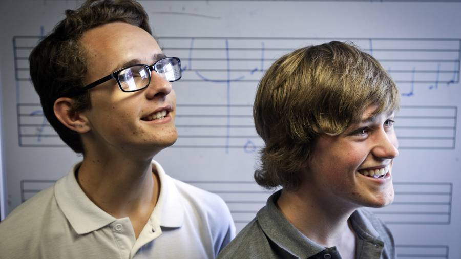 Levi Williams and Charlie Childs who are the winners of Scholars Pro Musica scholarships. Photo/Andrew Warner