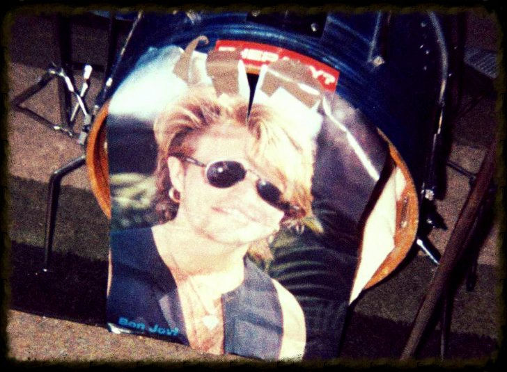 This is Neil's drum kit, with a fitting tribute stuck to the bass drum.