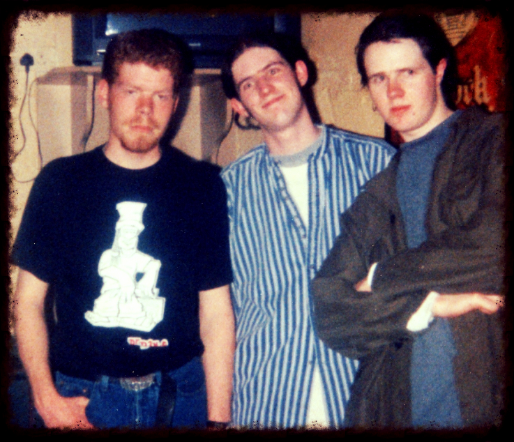April 1997, Ozzy, Gav & Myself after a gig (Andy legged it to       Fibbers       while we packed up all the gear, hence his absence).