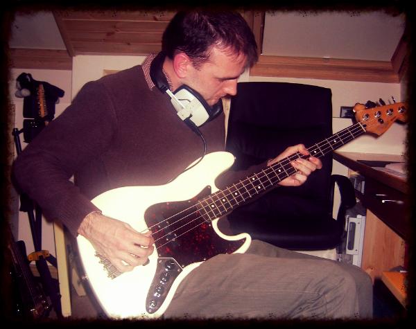 Andy (aka Rick Valenti) lays down some bass on the new BC album, circa 2007.