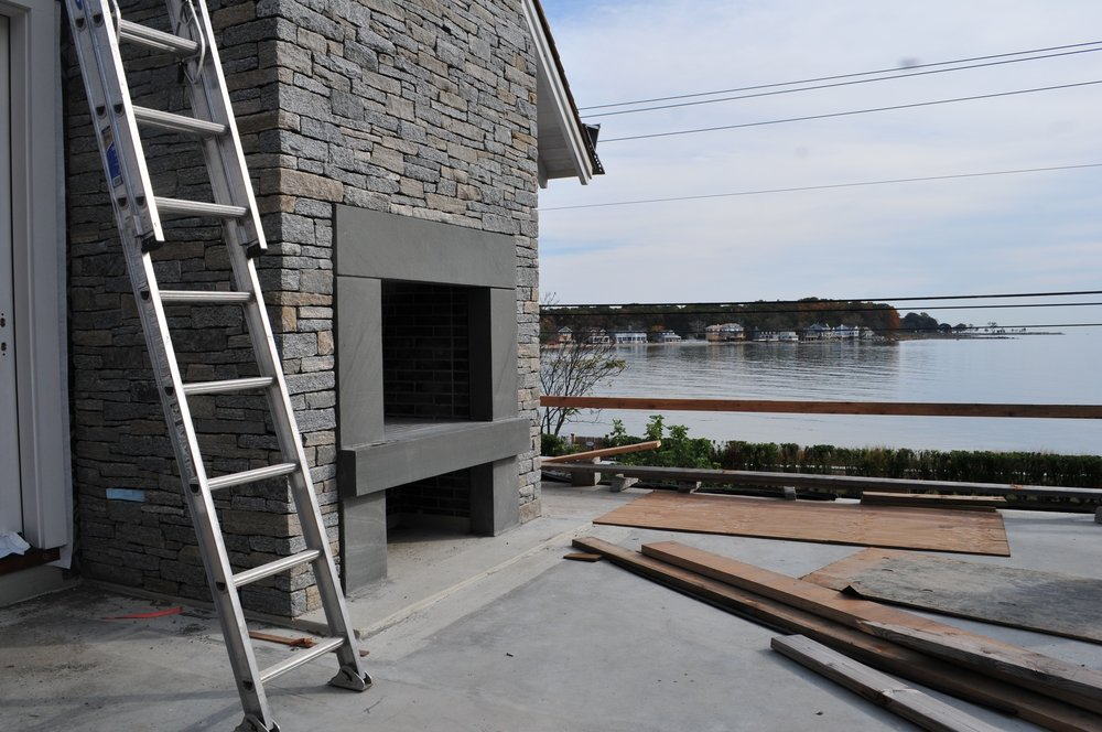 A view to the water from what would eventually become the fireplace seating terrace and pergola