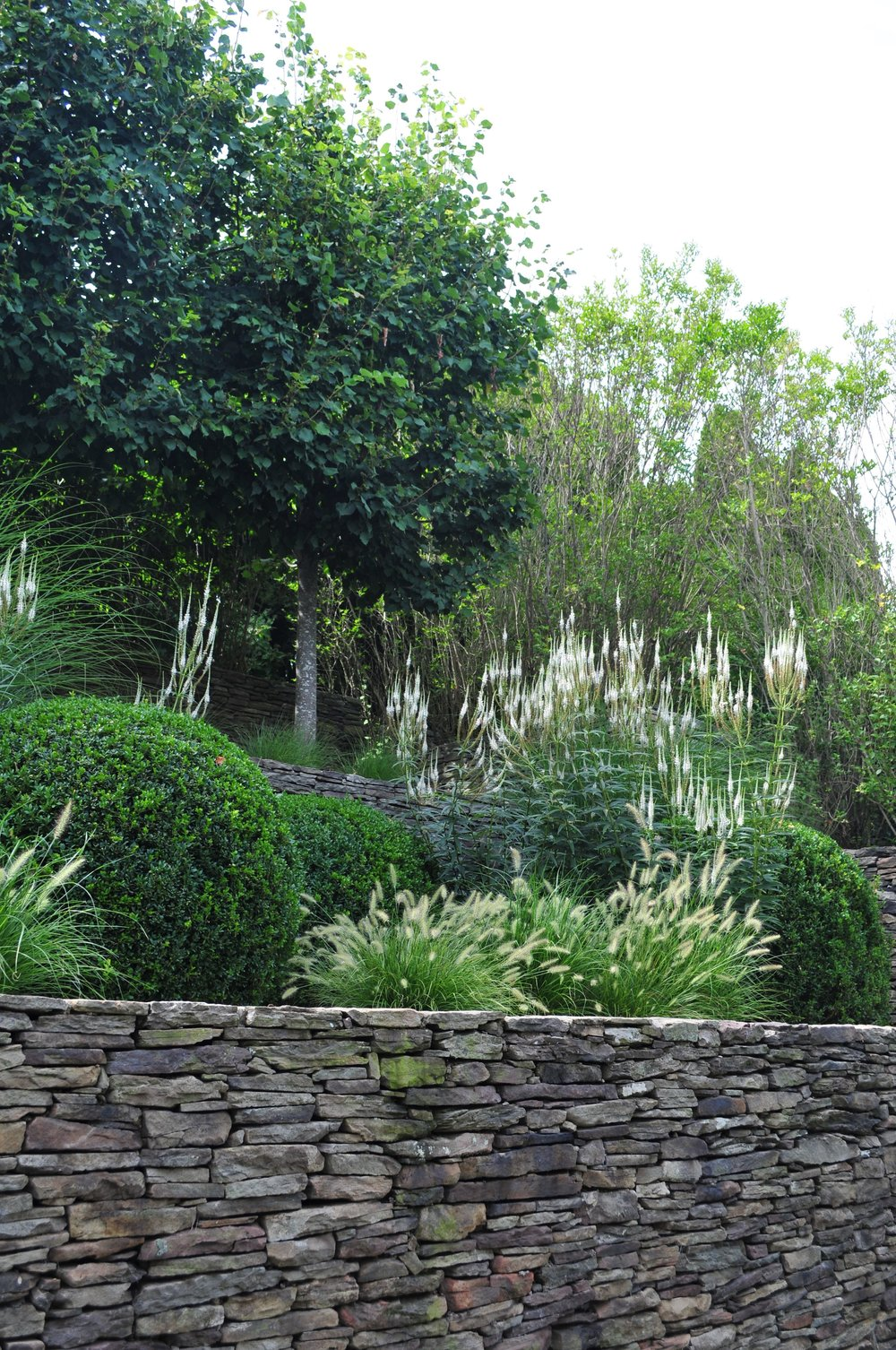 Tiered wall planting scheme