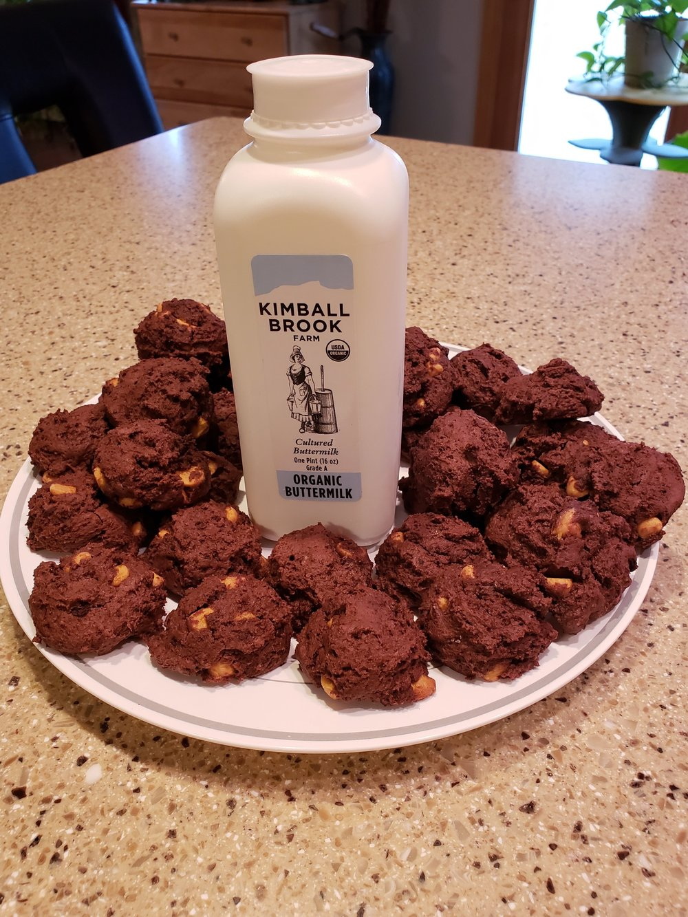Chocolate Drop Cookies w/ Butterscotch Chips using Kimball Brook Cultured Buttermilk