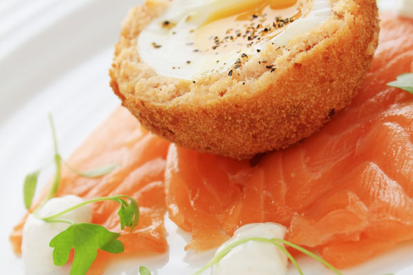 Banking Hall Menu Scotch Egg and Salmon