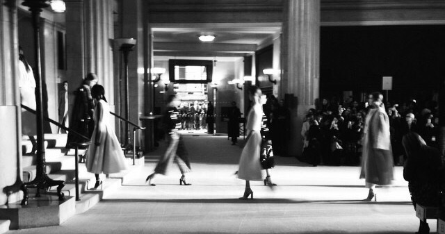 Banking Hall Fashion Show Catwalk Models b/w