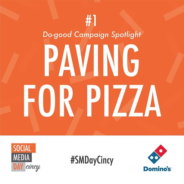 """Leading up to #SMDayCincy on June 30th, we'll be featuring do-good companies who have used #socialmedia to increase their reach and expand their impact. The first one we're featuring is from Domino's, who is filling in potholes in towns across the U.S. with a new '""""Paving for Pizza"""" initiative...(link in bio)"""