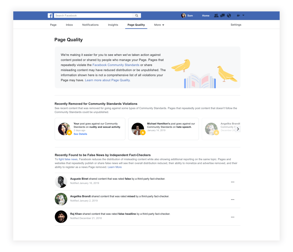 An example of the new Page Quality tab for Facebook managers