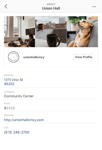 Union Hall business profile on Instagram