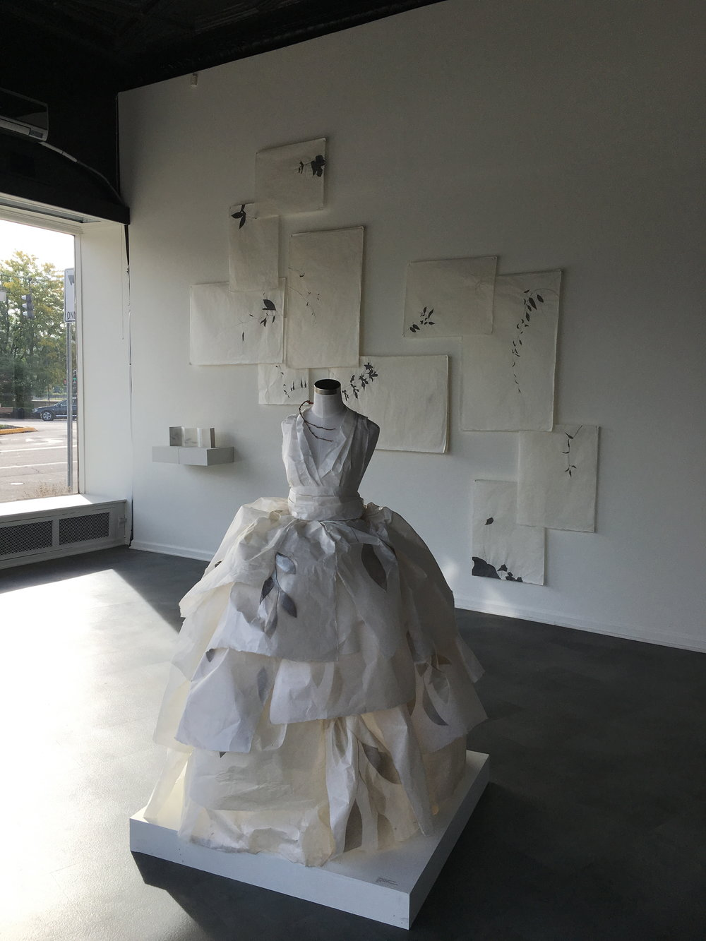 Lucy, Living Shadow  Paper dress, 32 x 32 x 60 inches, 2016 In collaboration with Anthony Videira