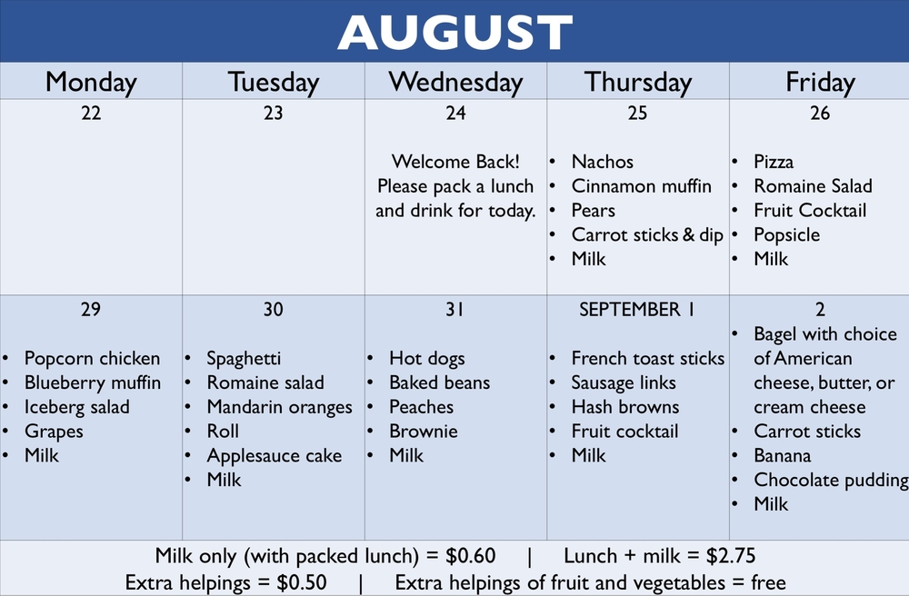 Click to view August menu