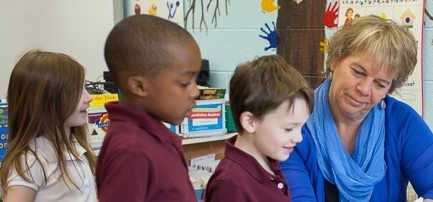 With smaller class sizes, teachers at St. Timothy K-8 Catholic School are able to provide lots of one-on-one attention and caring support.