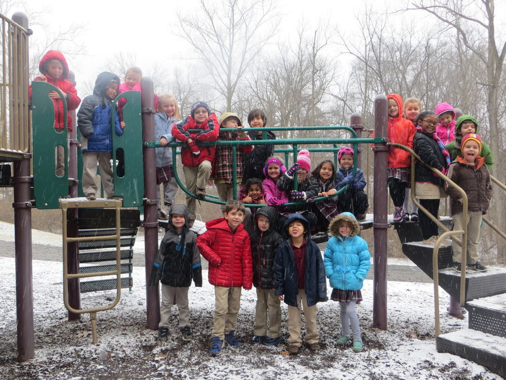 We took advantage of a mild snow shower to get at least one picture of our kindergarten kids in the snow!